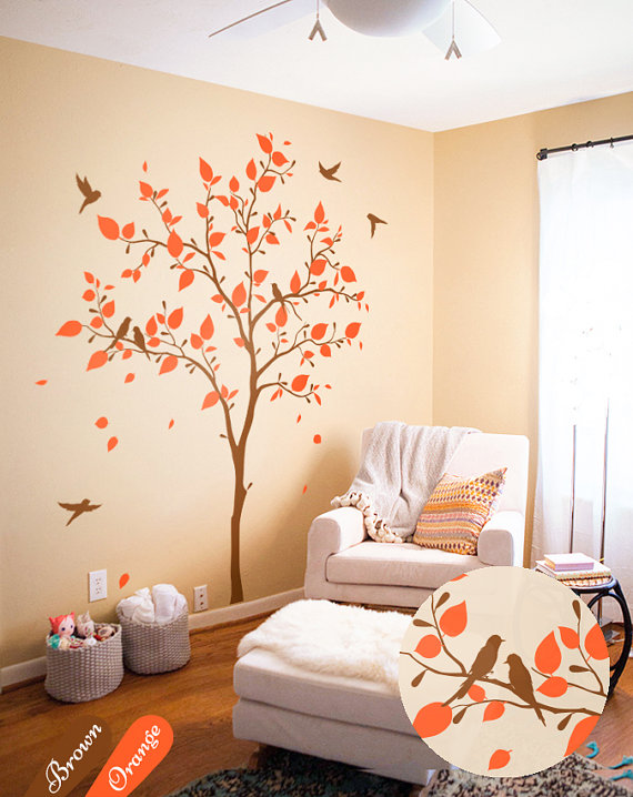Playroom Decal Tree with Birds C014 D26 Coral Blue Nursery Tree Butterfly Owl Nursery Decal Nursery Room Decal Coral Wall Decals