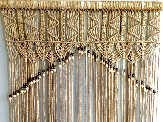 Macrame door curtain with beads