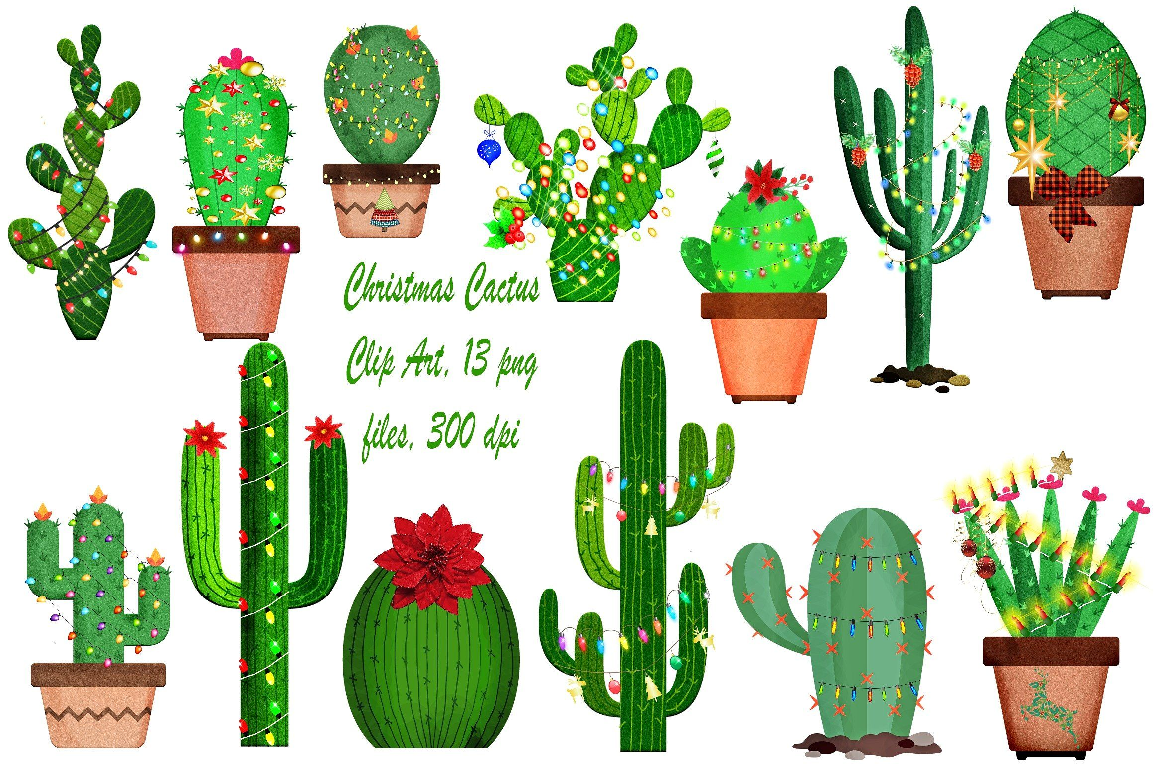 Christmas Cute Cactus Clip Art 13 Png Files With Transparent