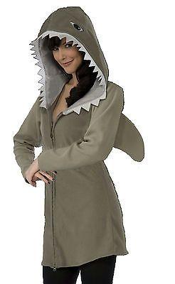 Shark Hoodie Fin Halloween Costume Adult Men Women Gray Fish Jaws New One Size  sc 1 st  Pinterest & Shark Hoodie Fin Halloween Costume Adult Men Women Gray Fish Jaws ...