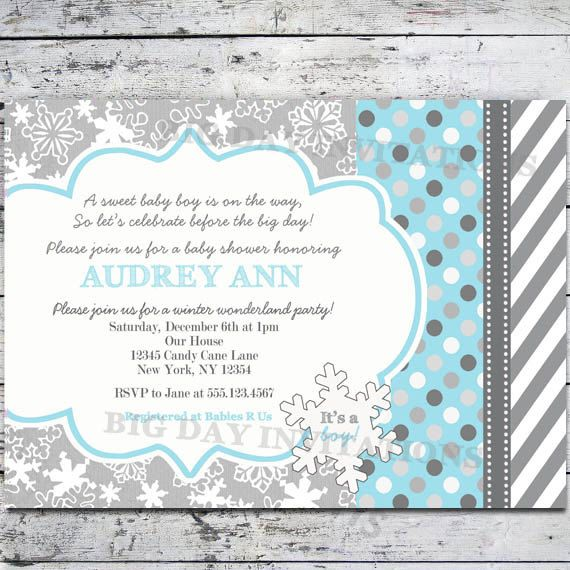 Winter Wonderland Baby Shower Invitation Snowflakes   Bright Modern    Printable Invite Snowflake 1st Birthday.