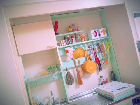 adorable kitchen cupboard organiser, submitted to the Felissimo DIY section