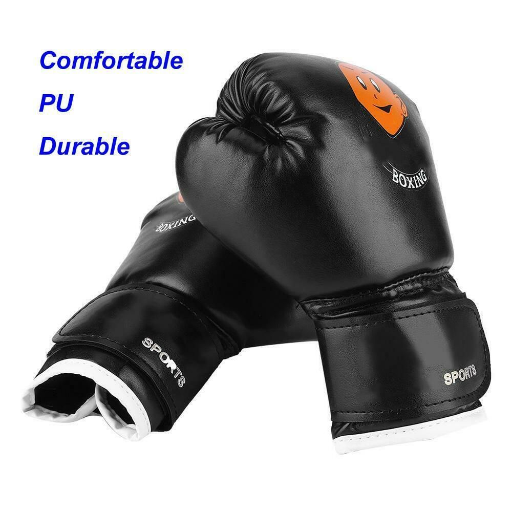 Boxing Gloves Art Leather Punch Training Sparring Kickboxing MMA Fighting Black