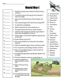 World War I Worksheet - Synhoff