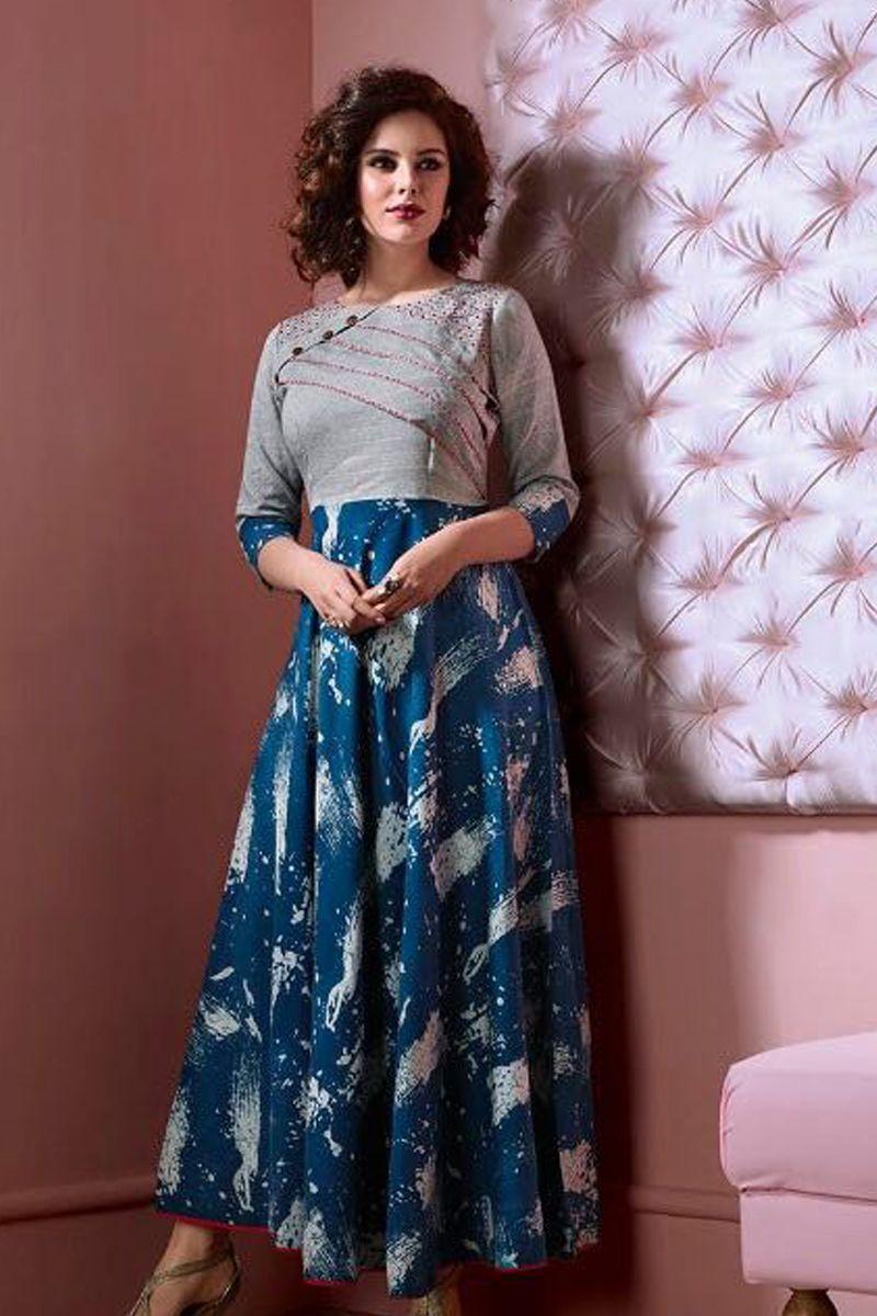 Blue Full Length Cotton Designer Wedding Wear Kurti 1075 6181 Bulk Wholesale Wholesalesupplier Whole Cotton Kurti Designs Cotton Dresses Online Fancy Kurti