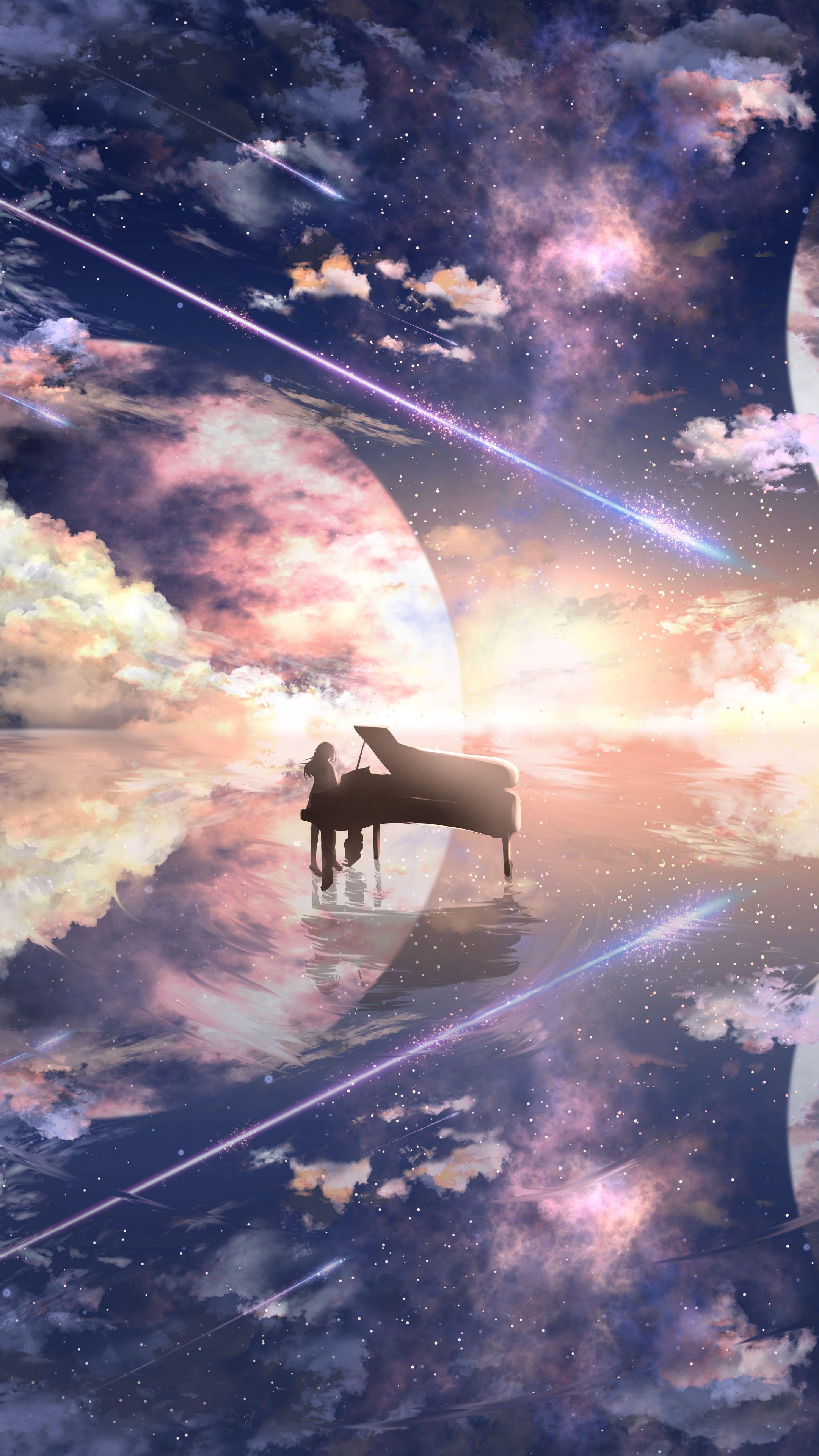 Piano silhouette by ツチヤ [2160x3840] in 2020 Piano