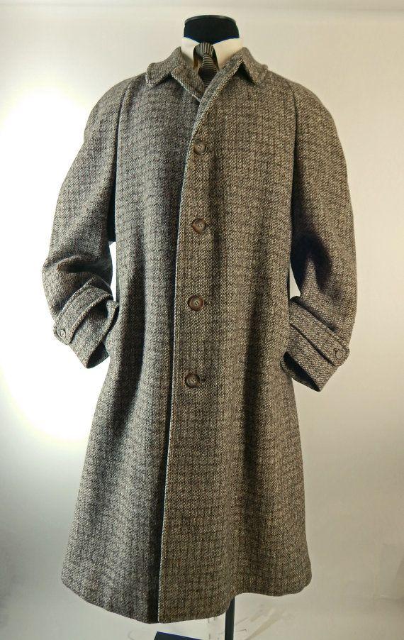 Mens Vintage 1950s Harris Tweed Overcoat Scotland By Endlessalley Tweed Overcoat Mens Fashion Fall Vintage Men