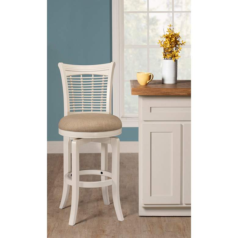 Bayberry 30 Off White Woven Fabric Swivel Barstool 19m54