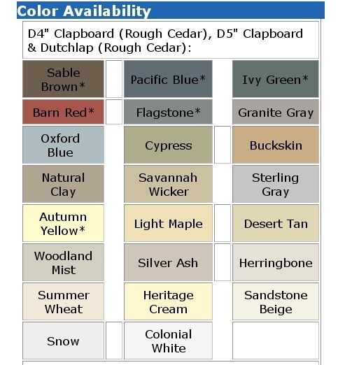 MICHIGAN VINYL SIDING COLORS