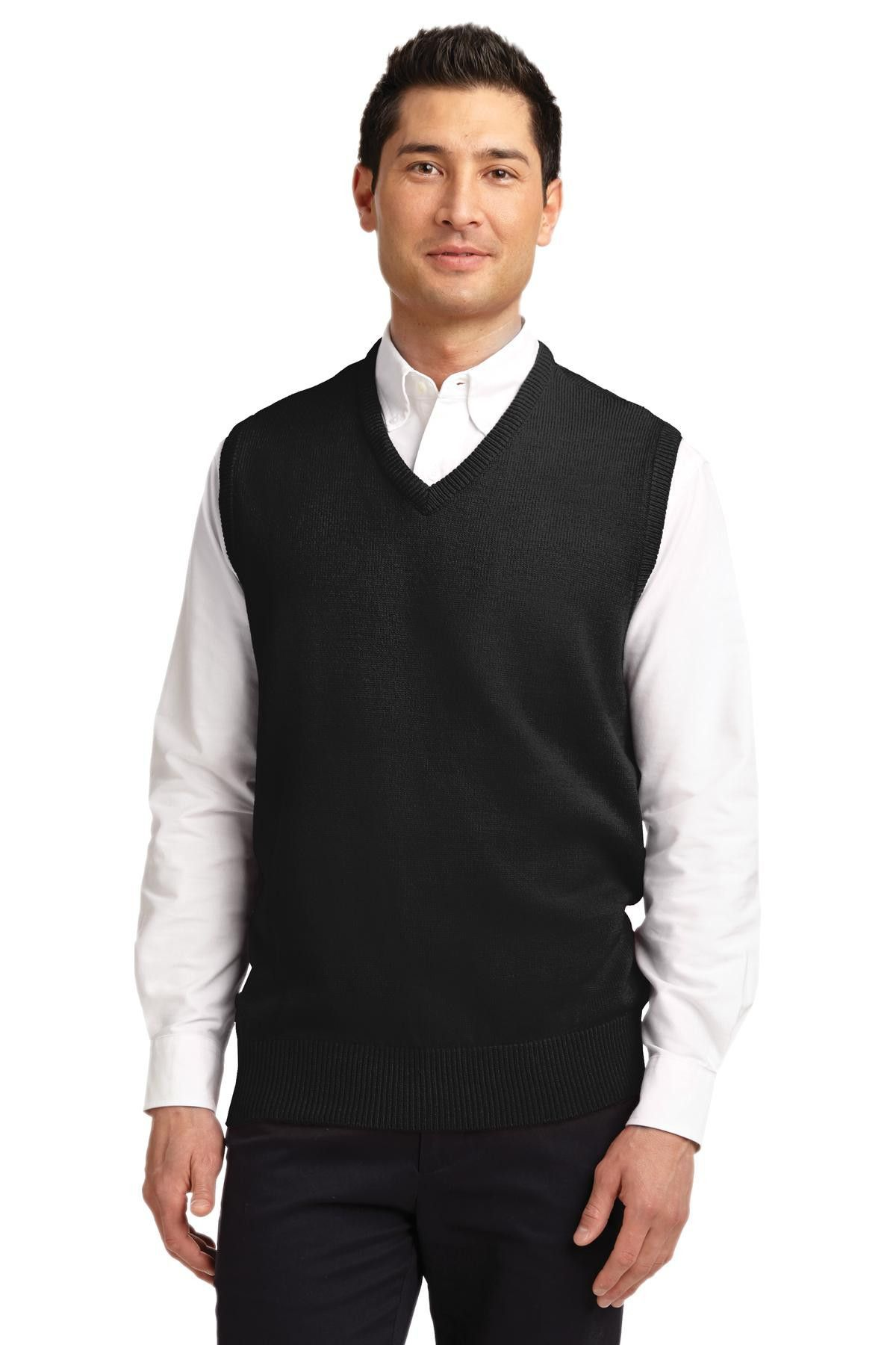 Port Authority Value V-Neck Sweater Vest SW301 Black | Cardigans ...
