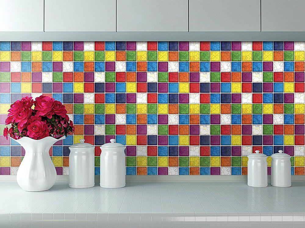 Amazon Com Cocotik Peel N Stick 3d Kitchen Backsplash Wall Tile Vinyl Wall Sticker 10 X 10 Square Colorful D Vinyl Wall Stickers Tile Wall Art Wall Sticker