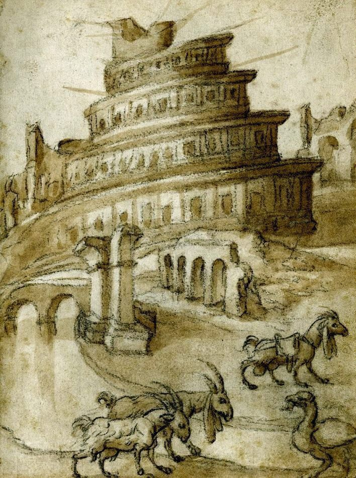 The Tower of Babel by the Italian artist Amico Aspertini (1474-1552)