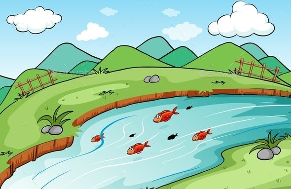 Scenery by BlueRingMedia Fish in the lake with green grass on the bank of the river