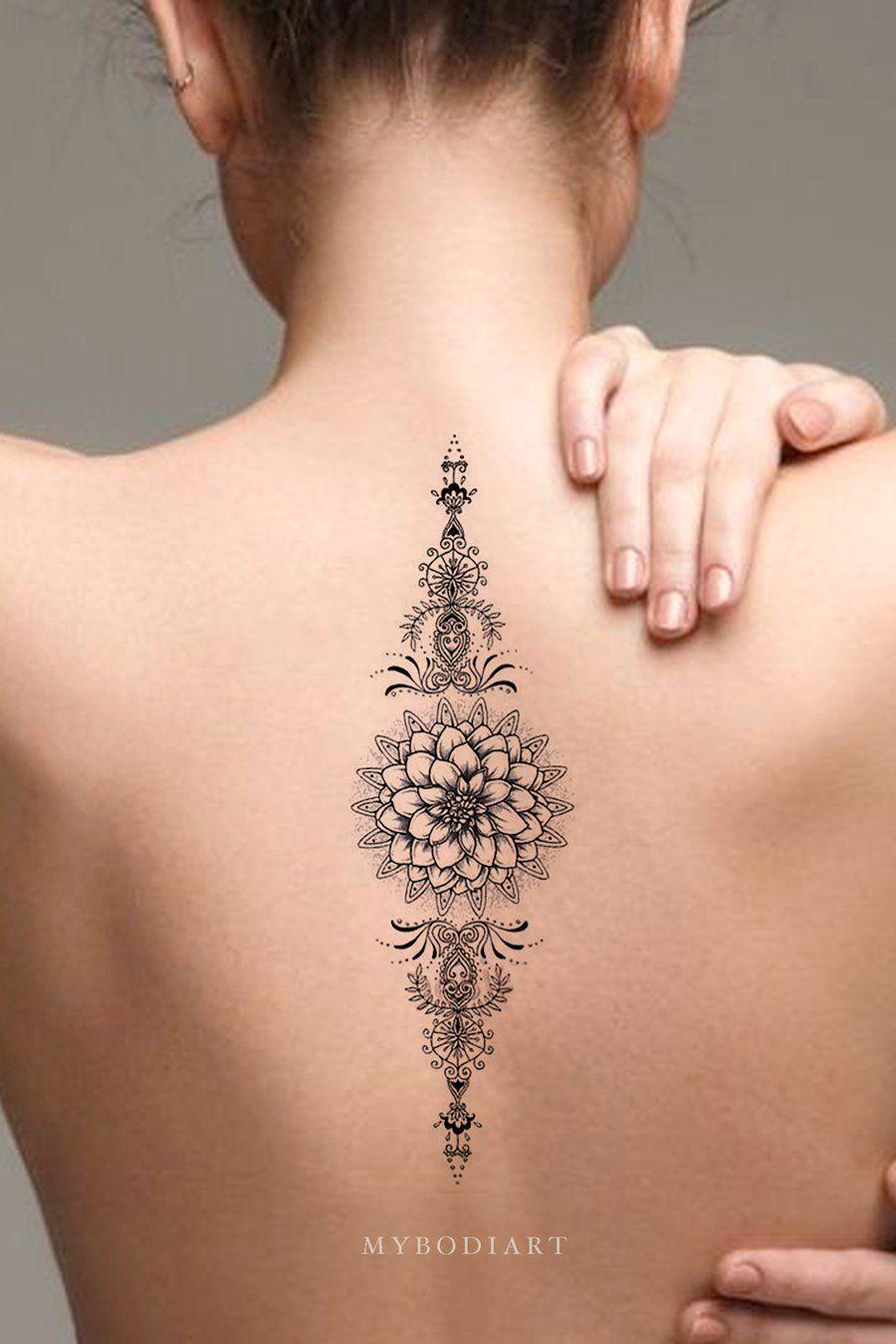 Tribal Boho Black Lotus Mandala Back Temporary Tattoo Ideas For Women Www Mybo Tribal Boho Black Lo With Images Boho Tattoos Delicate Tattoos For Women Temp Tattoo