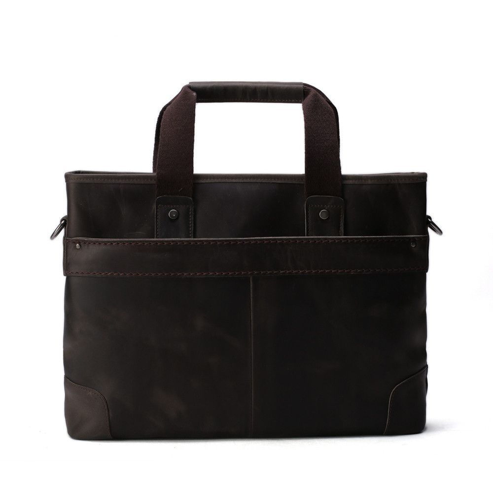 ROCKCOW Dark Brown Leather Briefcase For Men Top Quality Crazy Horse Bag Brand 6239