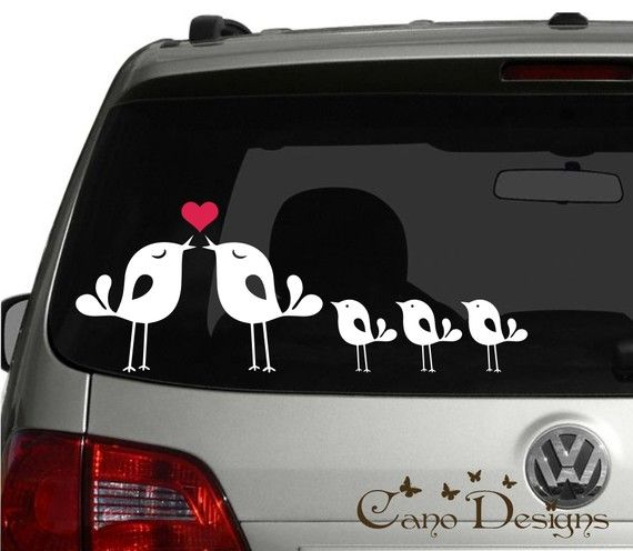 Lovely Bird Family Car Vinyl Decals Stickers Windows Decals