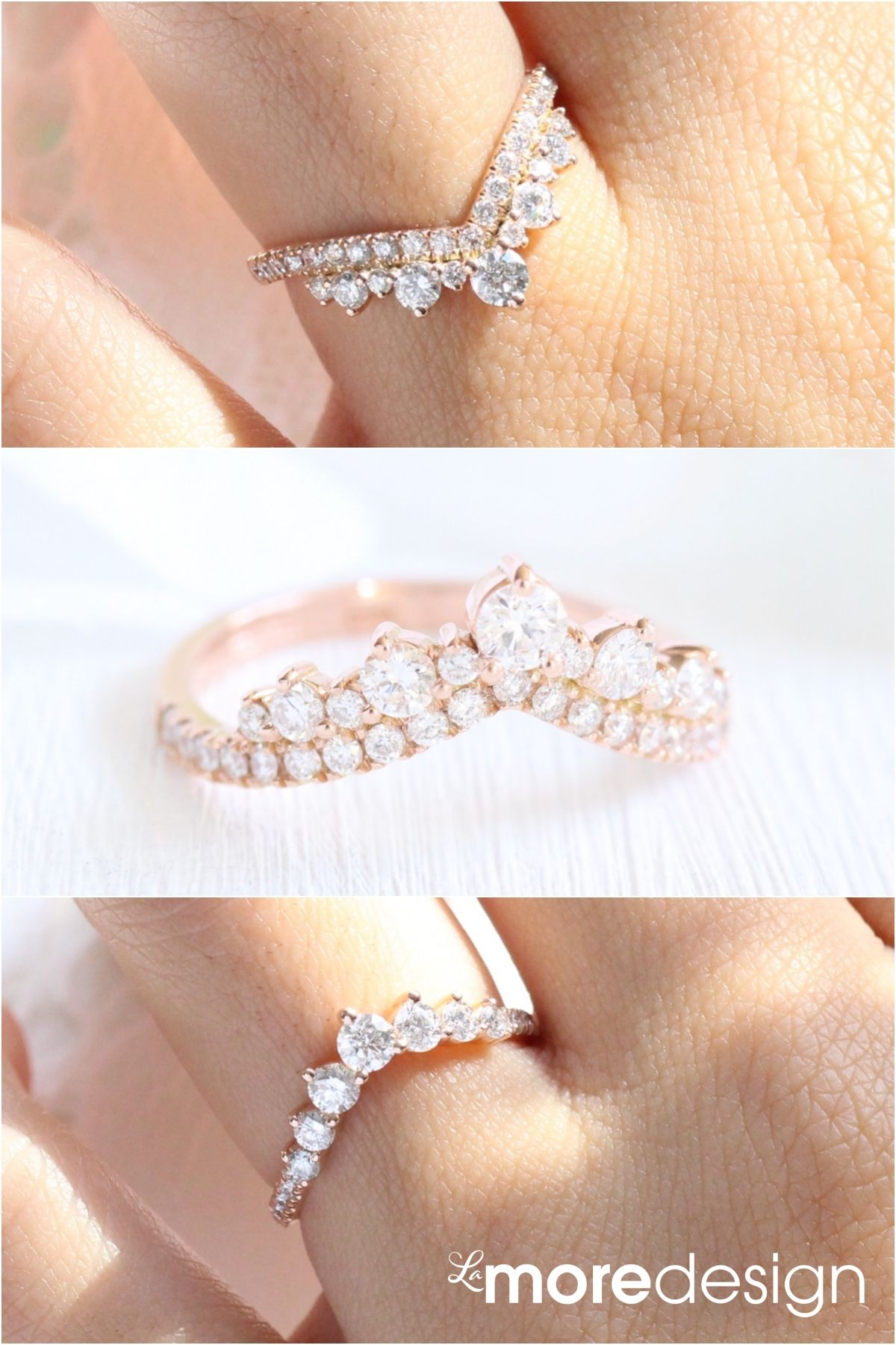 Unique Curved Wedding Bands Stackable Wedding Rings La More Design In 2020 Stackable Rings Wedding Dream Engagement Rings Curved Wedding Band
