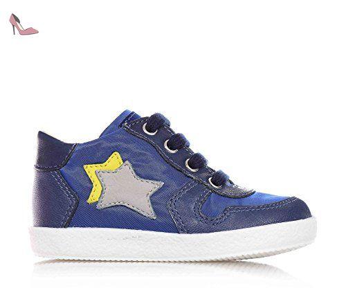 Falcotto Chaussure à lacets bleue et grise, en cuir et suède, idéale pour les premiers pas, bébé garçon, garçons-18