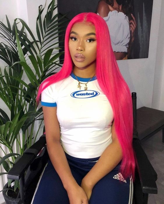 Rose Red Brazilian Remy Human Hair Wig Straight Wigs with Baby Hair Wigs -   13 hair Dyed african american ideas