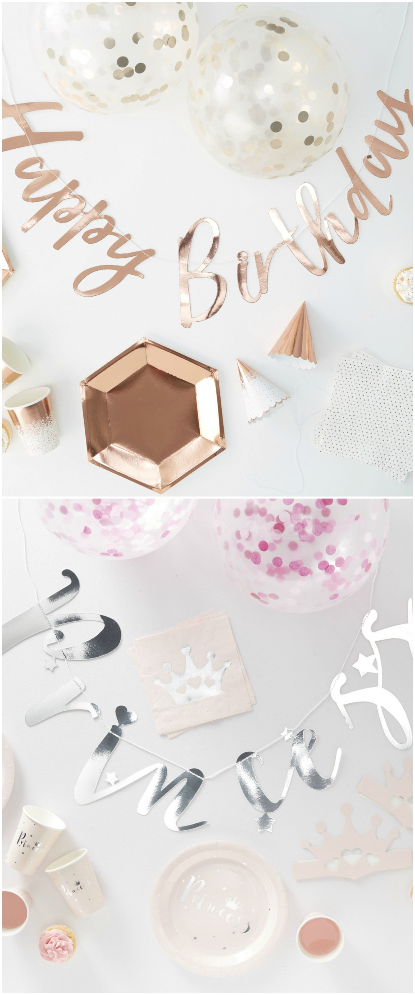 Rosegold Dekoration deko für eure geburtstagsparty happy birthday i rosegold i kupfer i