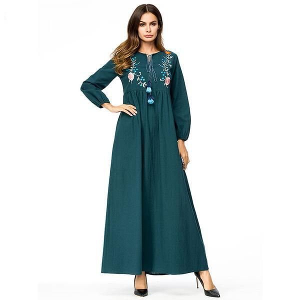 Floral Embroidery Maxi Long Dress Autumn High Waist ...