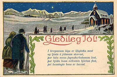 vintage icelandic christmas card gleileg jl merry christmas - Merry Christmas In Icelandic