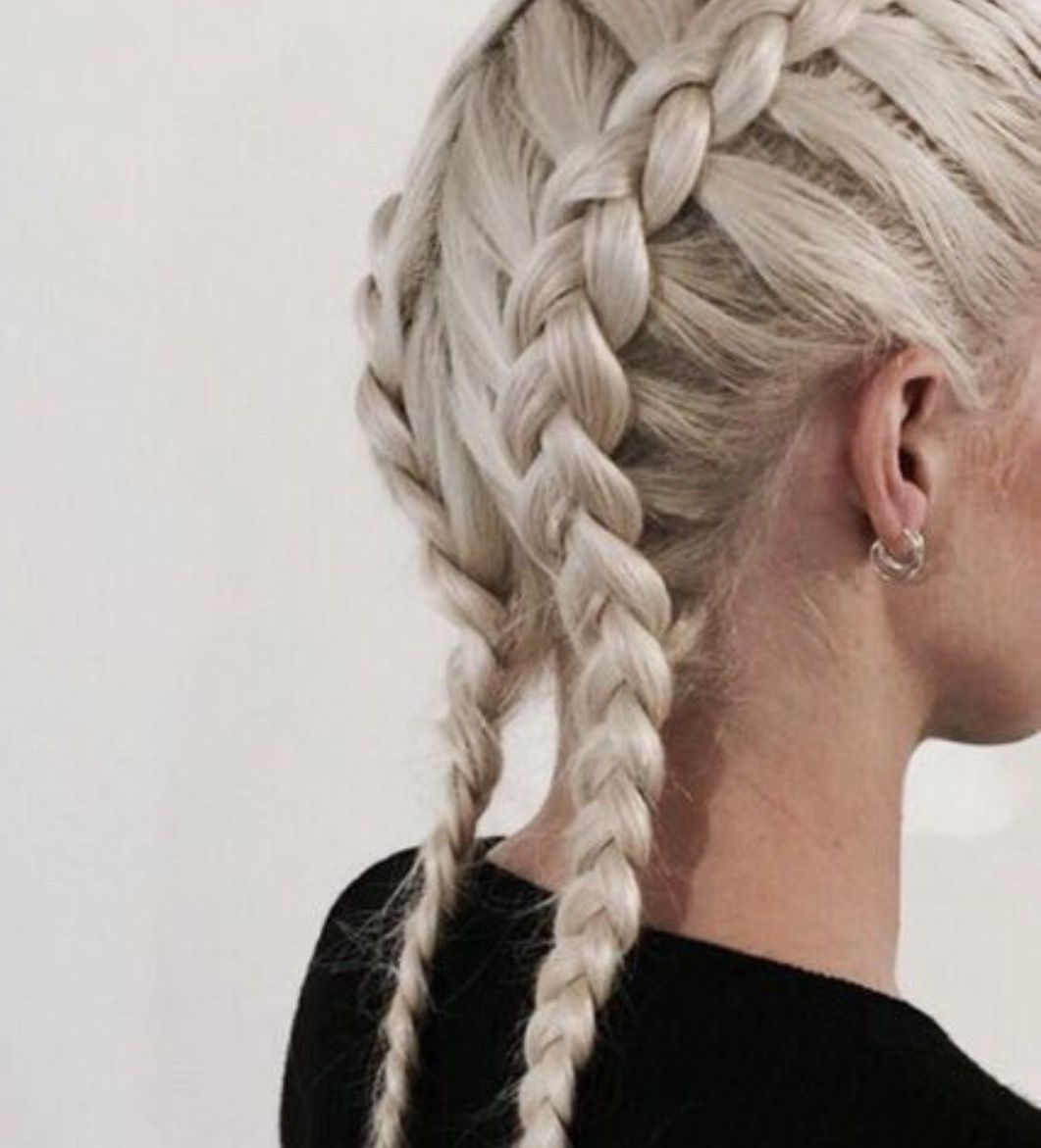 Two braided plaits tight pull back white hair | Stylish ...