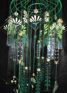 Vintage Style Japanese Chinese Glass Wind Chime Chimes Large Green