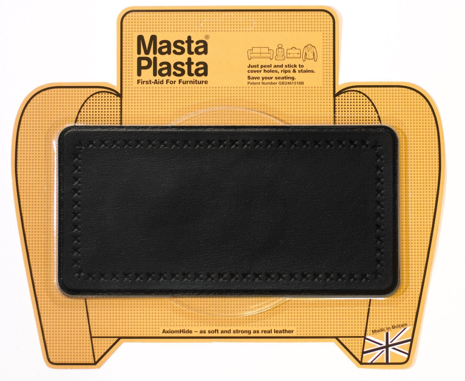 MASTAPLASTA peel and stick repair patch for holes, rips and stains in car seats, sofas, bags and leather jackets. Leather repair - easy, cheap and looks great - no one will ever know you're hiding a hole or stain.