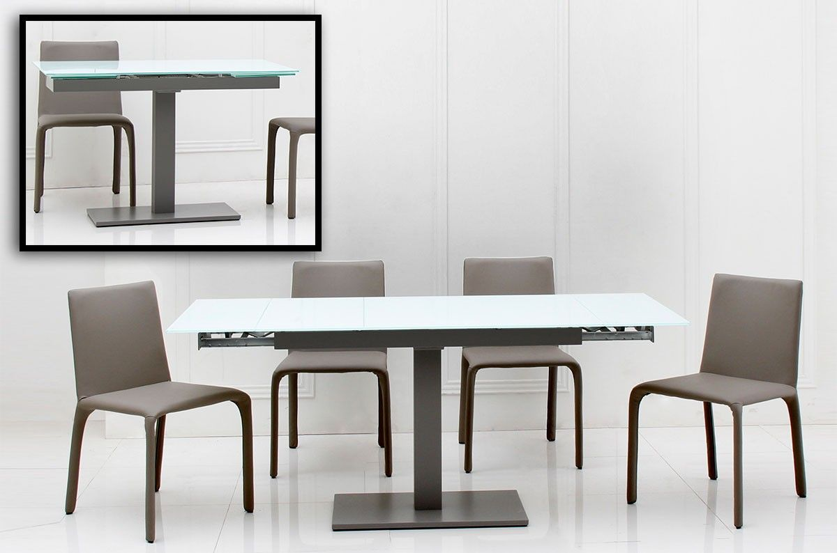 Modern Extendable Dining Table with White Thick Granite Top | dining on white home ideas, white bench ideas, white kitchen storage, white bedroom ideas, living room table ideas, white shabby chic ideas, patio table ideas, white entertainment center ideas, square dining table ideas, white kitchen furniture, white living room ideas, dining room furniture ideas, white sofa ideas, white tv stand ideas, white furniture ideas, farmhouse dining table ideas, dining room table ideas, white headboard ideas, farm table ideas,