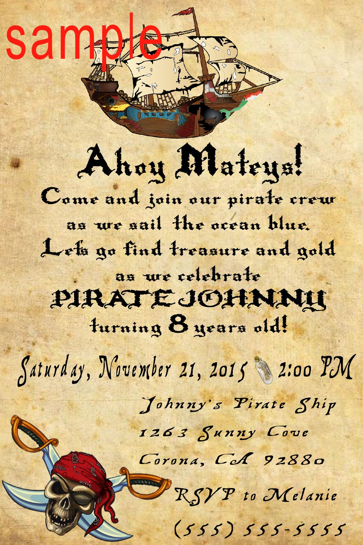 pirate birthday invitation click on the image twice to place orders