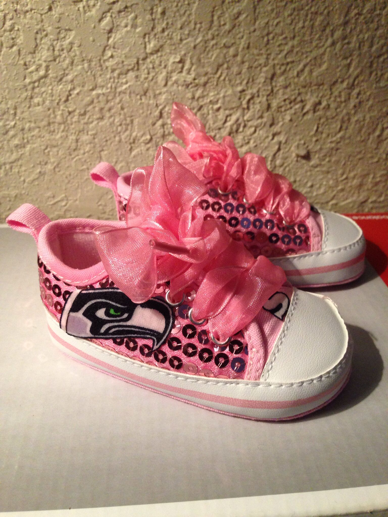 Loley pops newest creation pretty pink seattle seahawks baby shoes