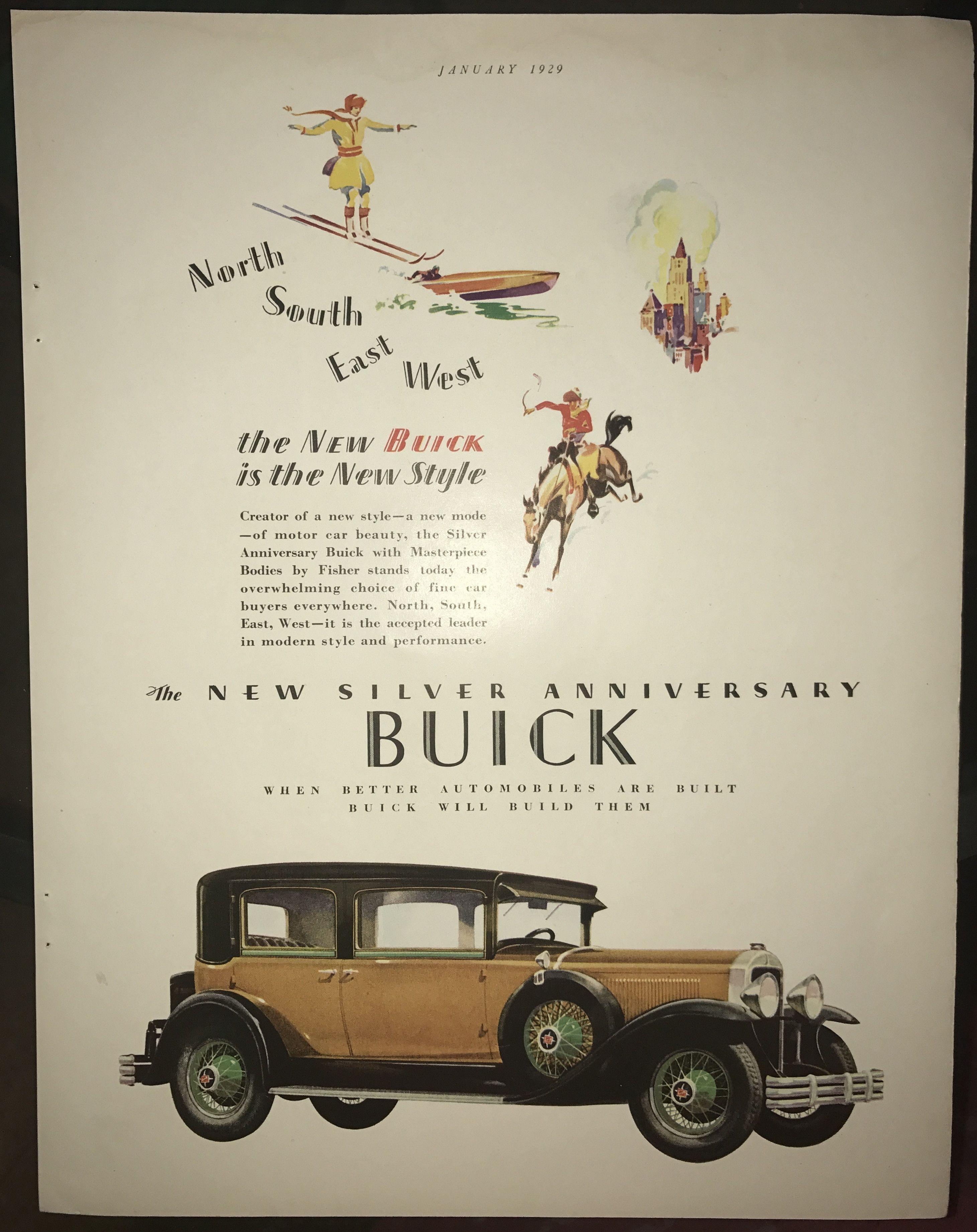 1929 Buick - The new Buick is the new style - vintage color ad ...