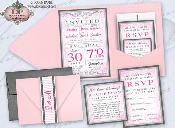 Blush Pink And Silver Gray Metallic Damask Pocket Wedding Invitations Set 5x7