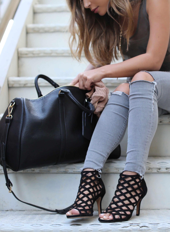 Marianna Hewitt Wears Sole Society S Portia Caged Heels Cassidy Weekender Bag