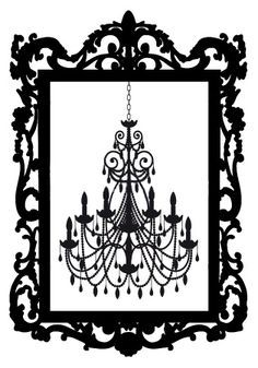 Baroque frame chandelier silhouette chandelier pinterest clipart of chandelier search clip art illustration murals drawings and vector eps graphics images aloadofball Images