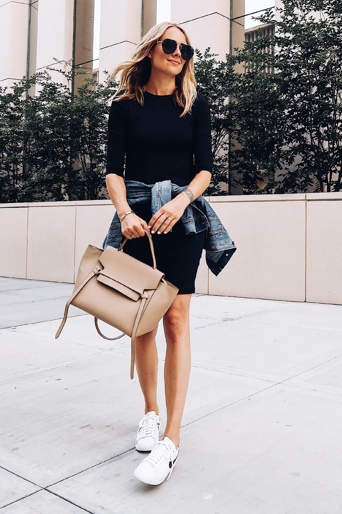 Blonde Woman Wearing Little Black Dress Denim Jacket White Nike Blazer Sneakers Celine Mini Belt Bag Aviator Sunglasses Fashion Fashion Fashion Jackson Outfits [ 1800 x 1200 Pixel ]