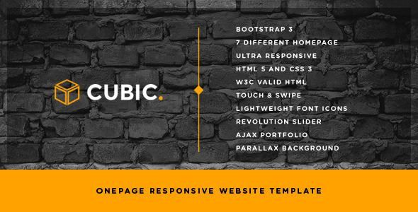 ThemeForest - Cubic - One Page Responsive HTML Template Free