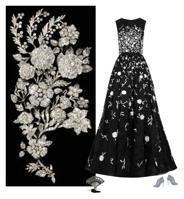 """""""Black lace embroidered"""" by brooklynbeatz ❤ liked on Polyvore featuring Oscar de la Renta, Gianvito Rossi, Judith Leiber, GetTheLook, black, Silver, embroidered and mimic"""