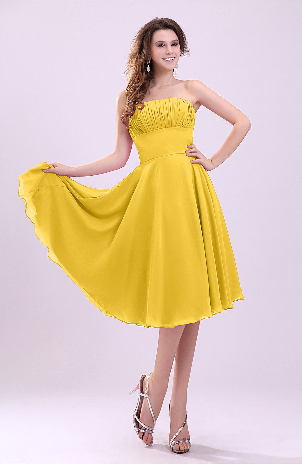 Yellow dress wedding guest  Yellow Guest Dress  Simple Aline Sleeveless Backless Pleated