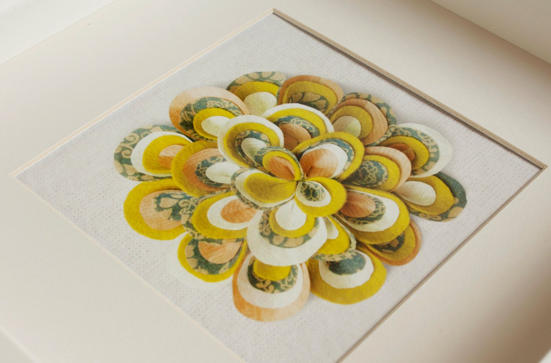 Printed Handmade Bloomin Felt Flower, Green & Gray, White Box Frame ...