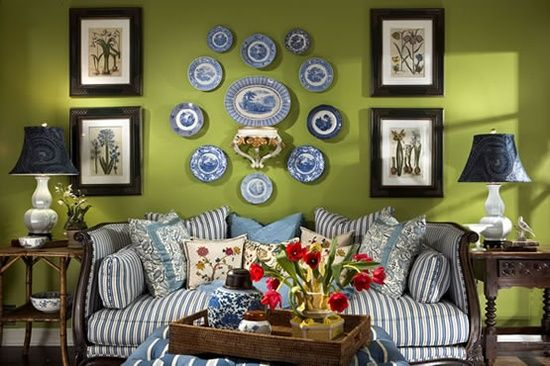 Perfect Pea Green And Delft Blue In This Living Room Vignette By Elizabeth Benefield