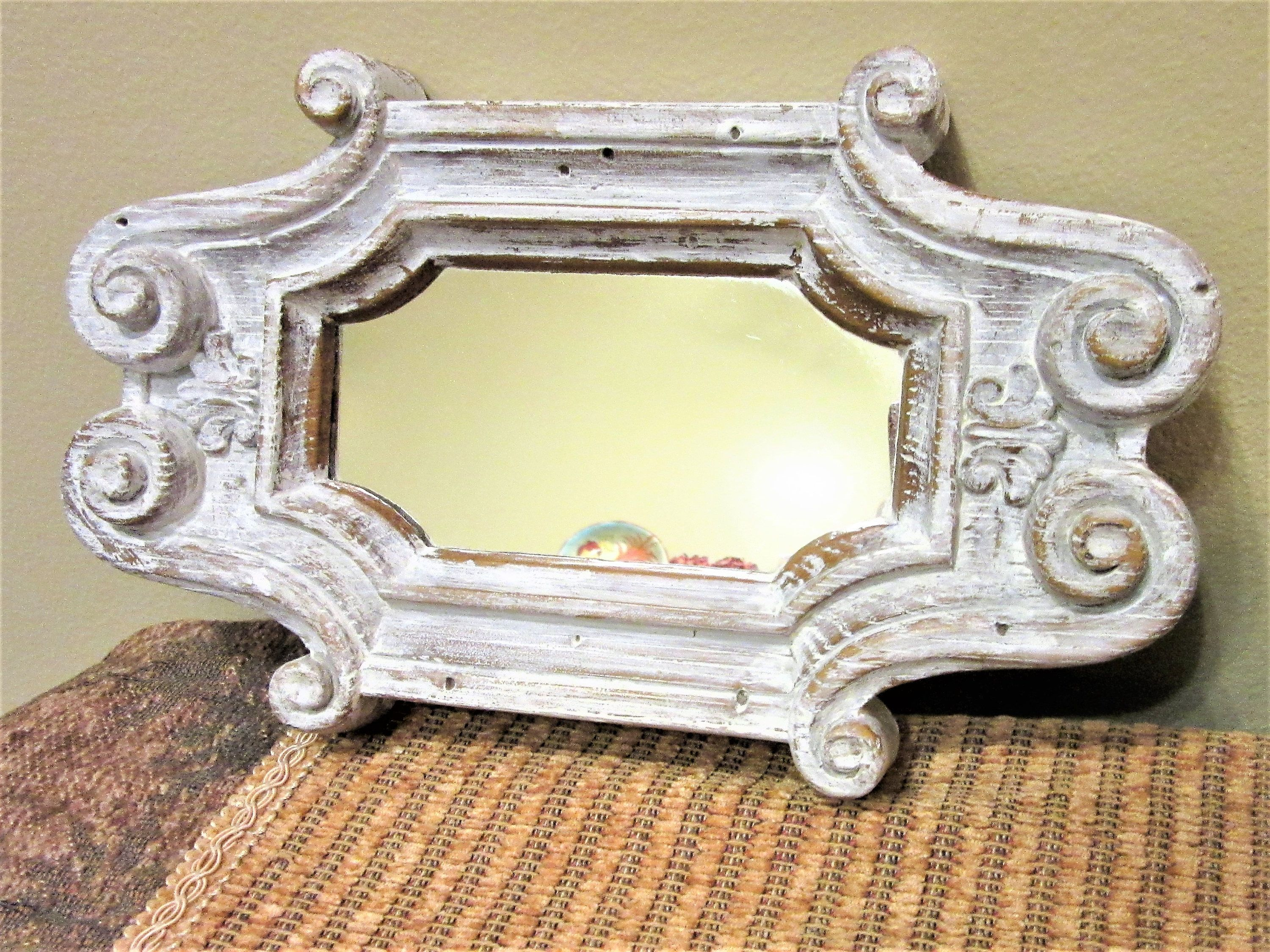 Shabby Mirror White Ornate Wall Decor Hanging or Tray Rustic Chic ...