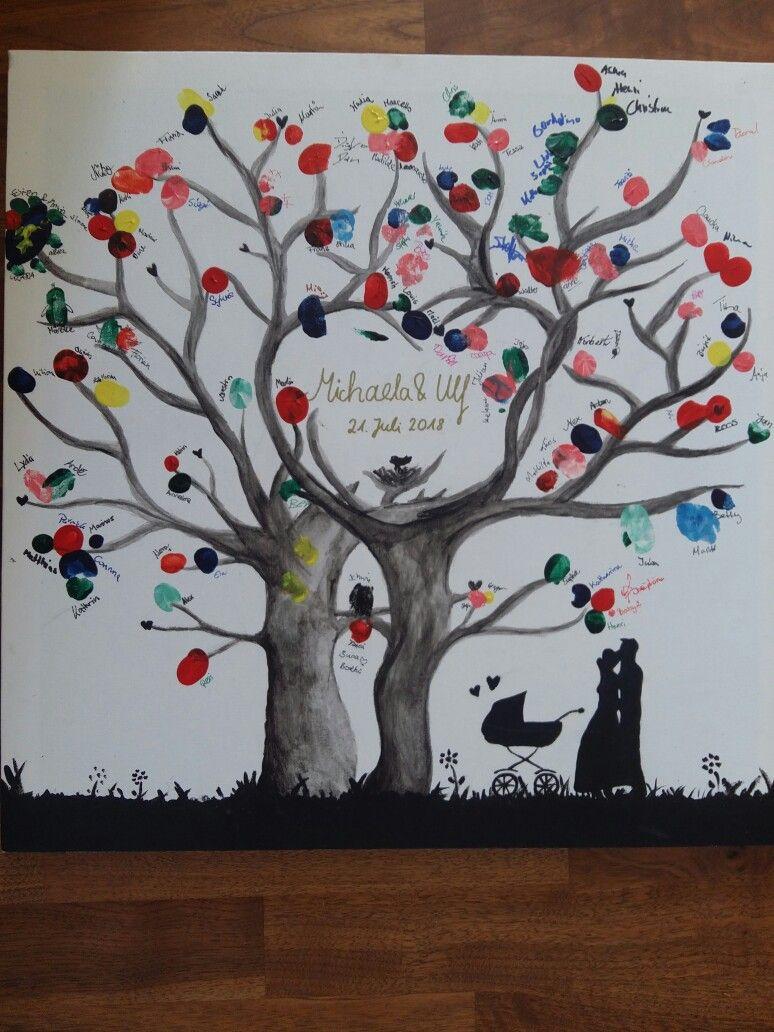 Gastebaum Fur Eine Hochzeit Baum Auf Eine Leinwand Malen Und Fingefarben Dazu Stellen Super Als Erinnerung Leinwand Hochzeit Baum Hochzeit Leinwand Malen