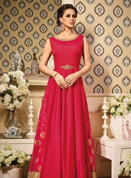 19d5bc63d7 Red evening party wear Indian designer gown in art silk E17046 https   www
