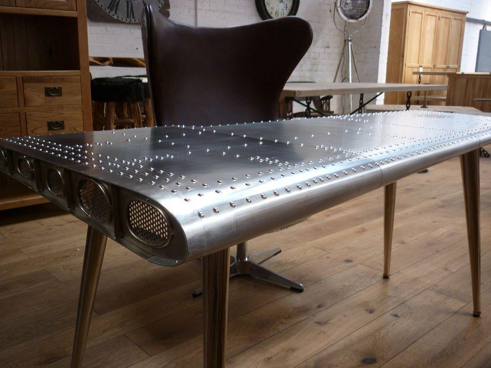deluxe furniture aviator aluminium wing writing desks 170cm x 91cm code15071 in