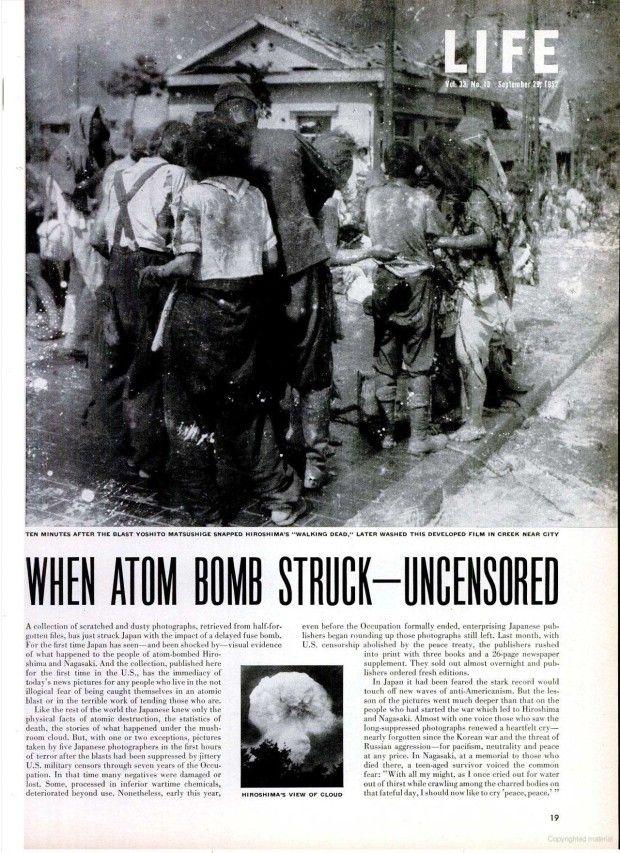 Survivors of Hiroshima atomic bombing, August 6, 1945