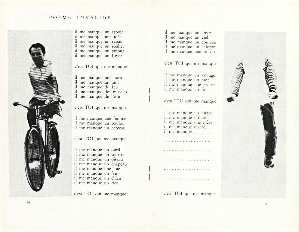 Robert Filliou Poème Invalide 1965 From Phantomas No 50