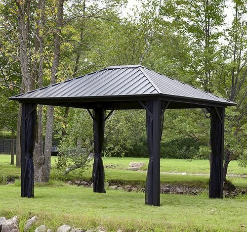 10 X 12 Steel Roof Gazebo At Menards Gazebo Backyard Backyard Creations