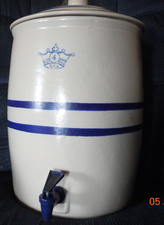 Robinson Ransbottom Blue Crown 4 Gallon Stoneware Crock Water Cooler Lid Spigot Vintage By Papajshaven On Etsy Stoneware Crocks Blue Crown Glassware